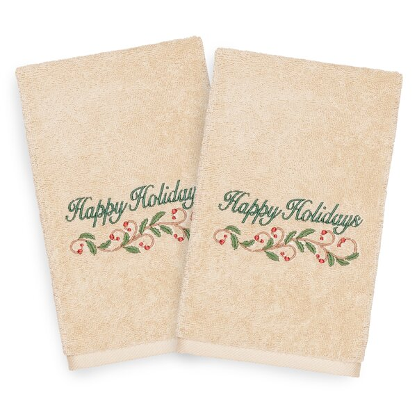 Beam Happy Holidays Embroidered Luxury 100% Turkish Cotton Hand Towel (Set of 2) by The Holiday Aisle